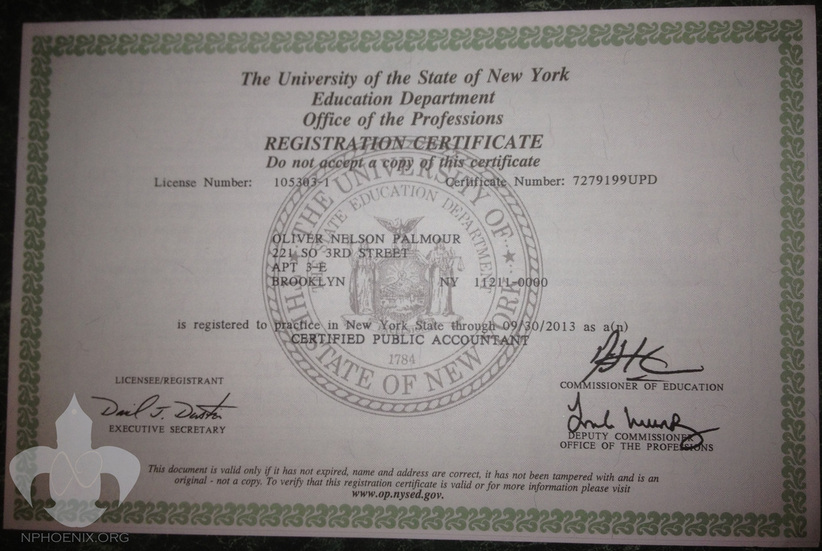 ... Certified Public Accountant Registration Certificate. 2010